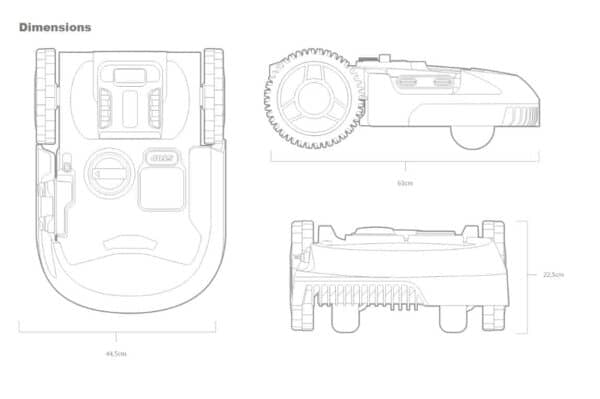 Worx WR150E drawing specification - Robot lawn mower