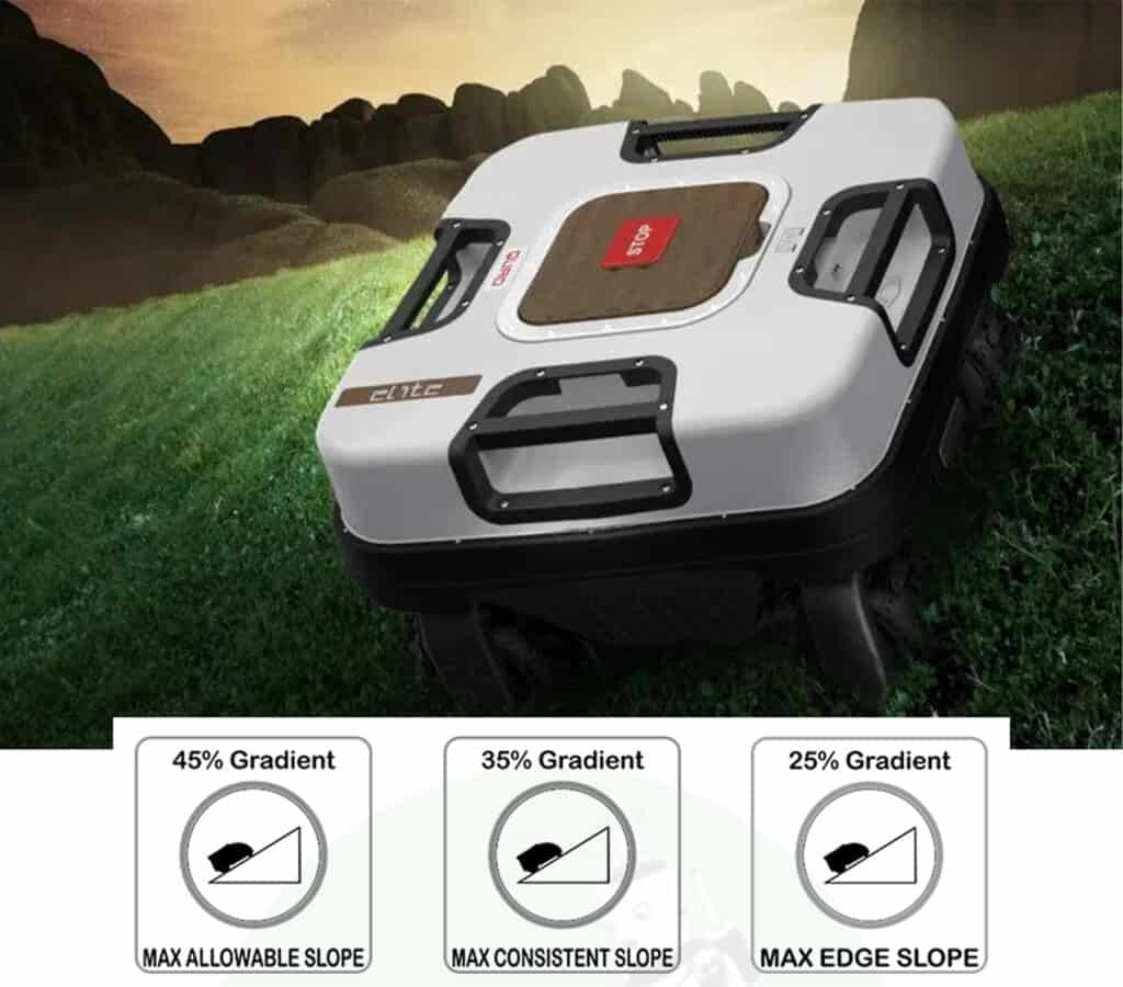 Robot lawn mower mowing on slope