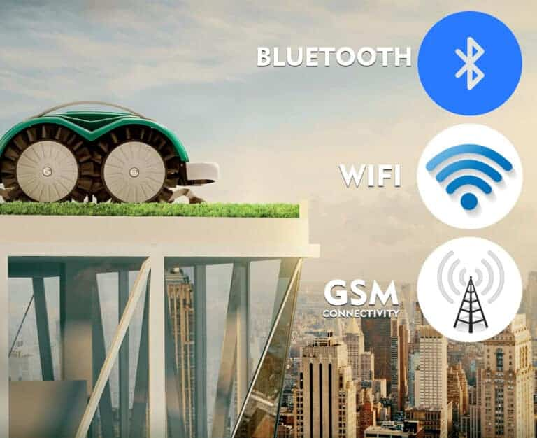 Robot mowers have bluetooh, wifi and GSM connection