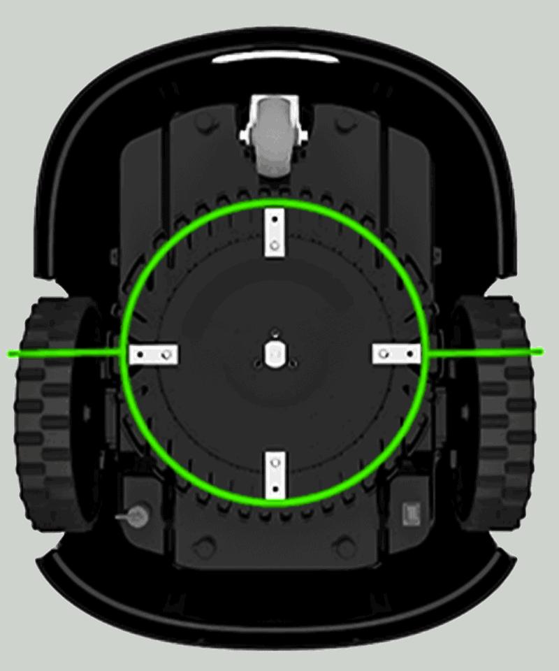 Robot mower centred blades